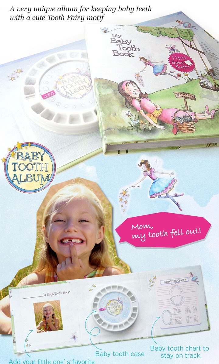 A very unique album for keeping baby teeth with a cute Tooth Fairy motif